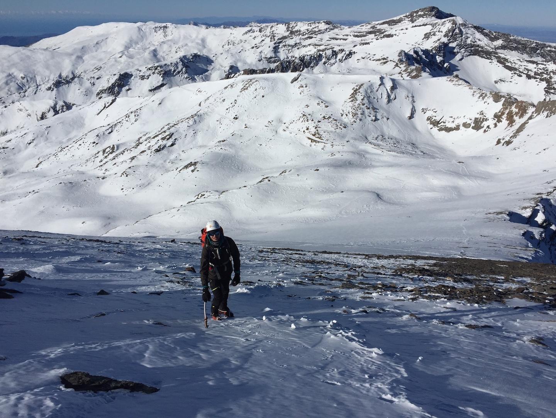 Llegando a la cumbre del Mulhacen